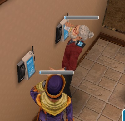 Sim on right keeps knocking head into wall, then drinking from a glass. Receiver is floating.